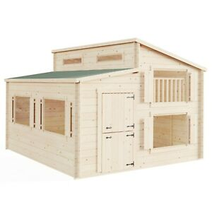 BillyOh Lookout Two Storey Log Cabin Outdoor Wooden Playhouse W2.5m x D3.0m