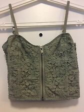 Aritzia TALULA SZ 2 XS Crop Tank Top Lace Bustier Green Gray Color Zipper Front