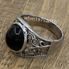 Men Womens Vintage Stainless Steel Black Agate Biker Ring Jewelry Size 9.5