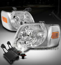 FOR 06-10 FORD EXPLORER/07+ SPORT TRAC CRYSTAL CHROME HEADLIGHT LAMP +50W 6K HID