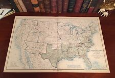 Original Antique Civil War Map UNION & CONFEDERATE BOUNDARIES June 30, 1862