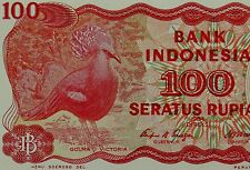 CROWNED PIGEON BIRD on banknote 1984 INDONESIA Money 100 Rupiah Red Yellow