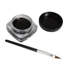 1x Delineador de ojos gel crema con cepillo maquillaje impermeable Negro
