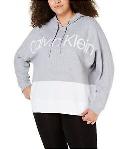 Calvin Klein Womens Logo Hoodie Sweatshirt, Grey, 2X