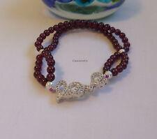 Certified genuine 4A grade rose 4mm 2-layers garnet in silver bracelet, gemstone