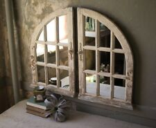 French Country Distressed Arched Wood Window Wall Mirrors Cottage Chic~ Set/2