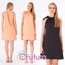 Polo Neck Short/Mini Plus Size Sleeveless Dresses for Women