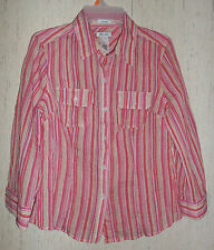 NEW WOMENS liz & co. strech STRETCHY CRINKLE STRIPE BLOUSE   SIZE M
