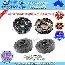 "10"" ELECTRIC DRUM BRAKE KIT CARAVAN, BOAT CAMPER TRAILERS BEARINGS"
