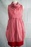 ORGANIC Cotton Blouson Style Pink Cowl Neck Sleeveless DRESS by Maronski Sml 8