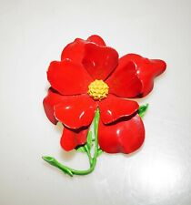 Vintage Red Green Yellow Enamel Peony Flower Brooch Pin 2.5""