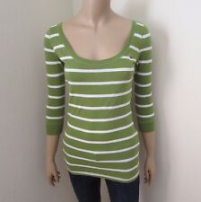 NWT Hollister Womens Striped Top Shirt Size XS Green & White 3/4 Sleeves Blouse