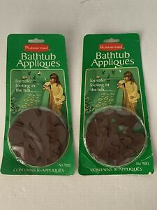 Vintage 1978 Brown Rubbermaid Flower Bathtub 16 Appliques No. 7085 NEW Extra 5