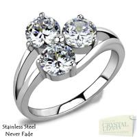 Stainless Steel 316L Engagement Ring Trilogy 3 Sparkling Swarovski Crystals Gift