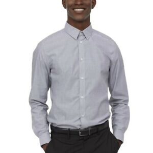 Mens Formal Long Sleeve Grey Shirt Slim Fit Casual Easy Iron Office Work Shirts