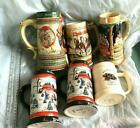 Stein Lot of 6 Budweiser Clydesdale Christmas 199, New World, Canada 22k Gold