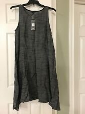 M EILEEN FISHER BLACK MELANGED MESH W/ORGANIC COTTON JEWEL NK  K/L DRESS W/SLIP