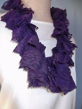"New Hand Crochet Purple Lace Twisted Ruffled Scarf 30"" Long"