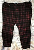 TRIPP NYC Women's 30 Plus 53 x 32 Red Black Check Skinny Jeans Goth Punk 30W Hot