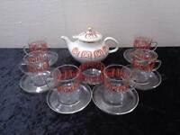 Russisches Teeset Porzellan Teekanne 6 x Teeglas Zuckerschale Vintage - um 1970