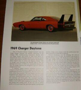 ★★1969 DODGE CHARGER DAYTONA SPECS INFO PHOTO 69 440 HEMI★★
