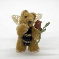 """Miniature Artist Jointed Teddy Bear Angel As Bumble Bee Holding Rose 1.25"""""""
