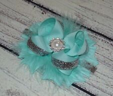 """Handmade 4"""" Aqua /Silver And Feather Stacked Boutique Hair Bows"""