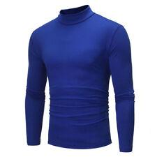 Men Winter Mock Neck Basic Plain T-shirt Blouse Pullover Long Sleeve Top