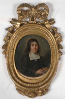 """""""Portrait of a young clergyman"""", Dutch oil miniature, 17th century"""
