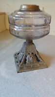 ANTIQUE  OIL  LAMP - CLEAR GLASS FONT-  - 9  INCHES TALL