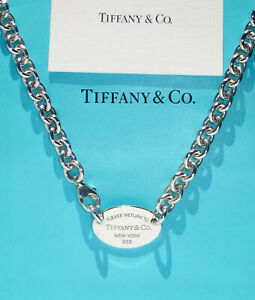 Tiffany & Co Sterling Silver Necklace Solid Chain Return To Tiffany Oval Tag