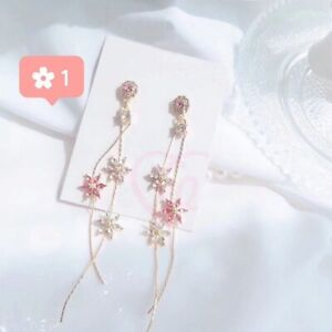 MENGJIQIAO 2019 New Korean Crystal Pink Flower Tassel Long Drop Earrings For
