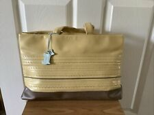 Radley Hops Cream Butter Yellow Leather with Charm Tote Grab Bag Handbag