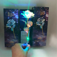Galaxy Gold Rose with Love Base Creative Gift Foil Plated Everlasting Crystal hi
