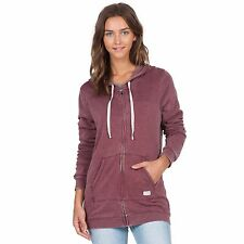 2016 NWT WOMENS VOLCOM LIVED IN LONG ZIP HOODIE $55 S crimson full zip logo