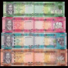 South Sudan SD SUDN, Set 4 PCS: 1+5+10+25 Pounds, 2011, P5 6 7 8, UNC