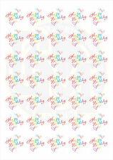 37mm Round Paper Stickers Happy Birthday Bright Fun Colourful