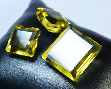 CS-0028 Lemon Quartz Glass Stone Gemstone Square Faceted Cabochon 3Pc Cab Set