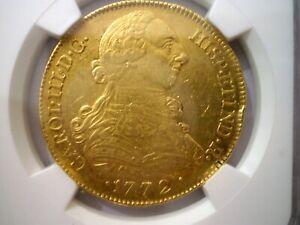 1772 JS COLOMBIA POPAYAN 8 ESCUDOS CARLOS III 8E COLONIAL GOLD COIN