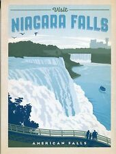 Post Card Of A Vintage Travel Poster For Niagara Falls