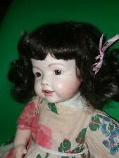 German Hilda ? Reproduction Doll Composition Body German Bisque head Baby Wig