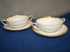 "ROYAL WORCESTER  ""VICEROY gold trim""  TWO CREAM SOUP BOWLS AND SAUCERS"
