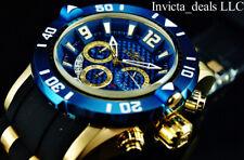 Invicta Mens 50mm Pro Diver Quartz Chronograph 18k Gold IP Blue Dial Watch