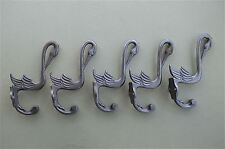 SET OF 5 BEAUTIFUL ARTS AND CRAFTS STORK HOOK CAST IRON COAT BIRD COATHOOK RACK