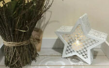 WHITE METAL CUT STAR LANTERN COMPLETE WITH LED CANDLE 13CM