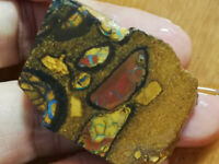 Amazing 124.35CT +Video Australian CONGLOMERATE Boulder Opal ROUGH Slab