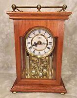 Vintage Quartz D&A Anniversary Style Shelf Clock Running Nice Oak Wood Case