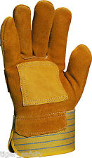 12 Pairs Delta Plus Venitex DS302R Cowhide Canadian Rigger Safety Gloves Docker