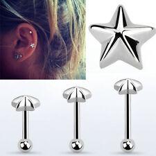 1-4PC Barbell 16G 6-8mm Helix Cartilage Ear Piercing 4mm Silver Bar Star Steel