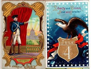 Four (4) USA American Flag Postcards - 4th of July - Nice Variety Patriotic